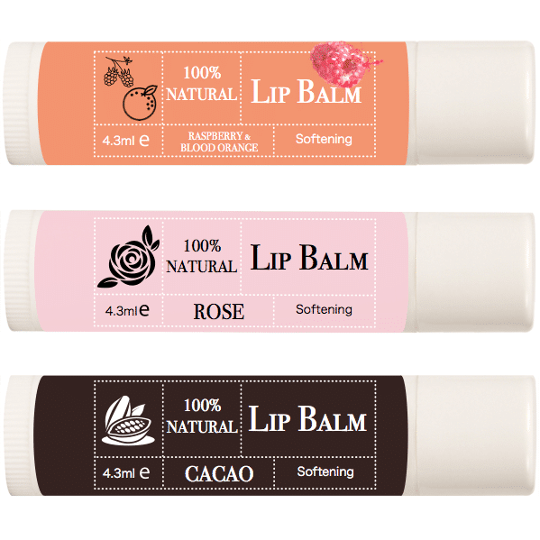 Lip Balm 3 Pack- CACAO, Rose Flower & Blood Orange with Raspberry
